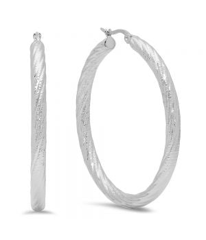 Classic Large 50mm Textured Steel Hoop Earrings