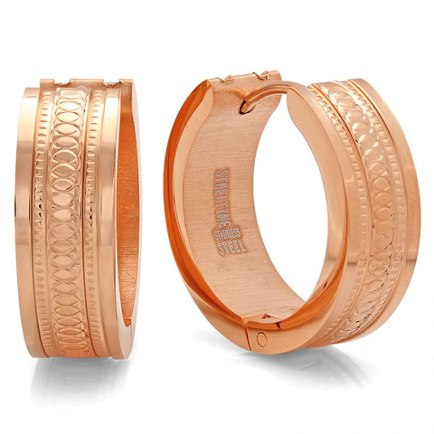 Classic Texture Accent Design Rose Gold Huggie Steel Earrings
