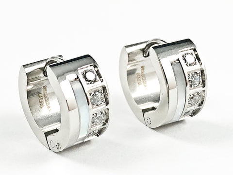 Beautiful Dainty Mother Of Pearl & CZ Huggie Steel Earrings