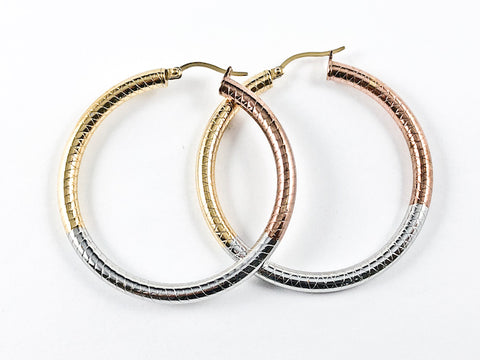 Modern Large Tri Color Tone Textured Steel Hoop Earrings