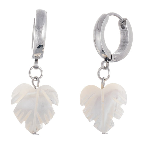 Unique Mother Of Pearl Leaf Charm Steel Huggie Earrings