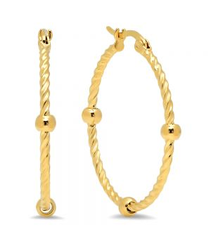 Classic Large Rope Style With Ball Charms Design Steel Hoop Earrings