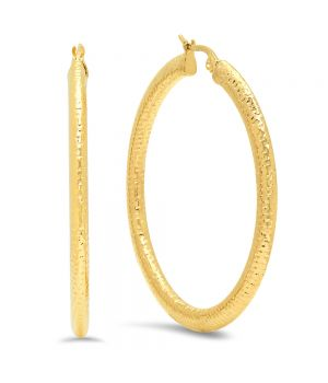 Classic Unique Shiny Texture Gold Tone Large Hoop Earrings