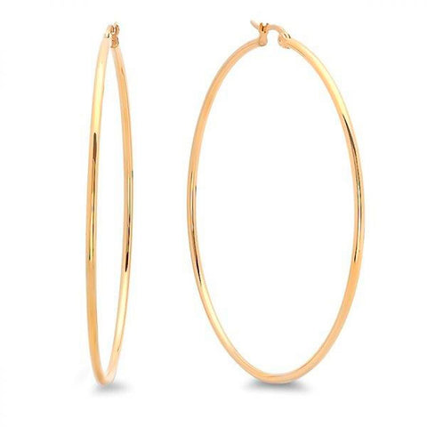 Large Thin Gold Tone 60 mm Steel Hoop Earrings