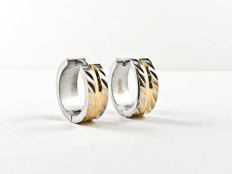 Modern Textured Metallic Pattern Two Tone Steel Huggie Earrings