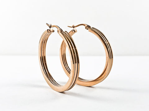 Casual Stylish Lined Design Rosegold Tone Steel Earrings