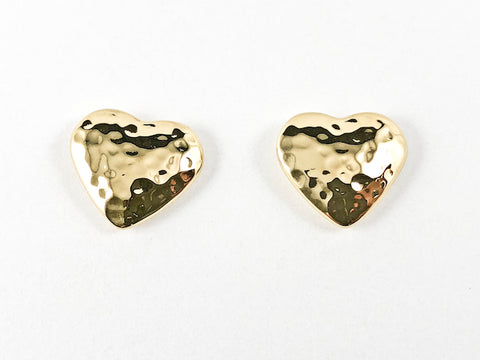 Dainty Casual Hammered Heart Design Yellow Gold Steel Earrings