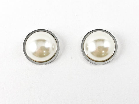 Casual Elegant Half Pearl Steel Earrings