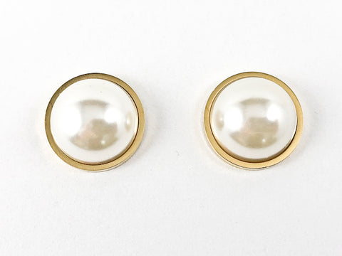 Casual Elegant Half Pearl Gold Tone Steel Earrings