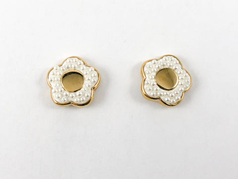 Elegant Dainty Floral Mini Pearl Gold Plated Steel Earring