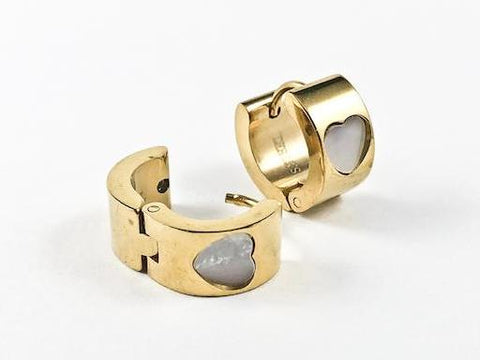 Modern Cute Dainty Design With Heart Mother Of Pearl Gold Tone Huggie Steel Earrings