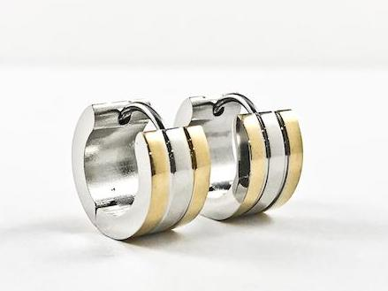 Modern Plain Tri Color Stripe Dainty Huggie Steel Earrings