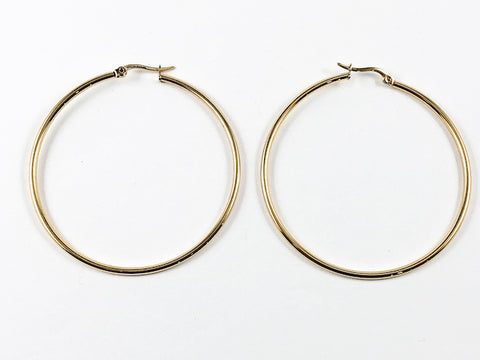 Large Thin 50 mm Gold Tone Steel Hoop Earrings