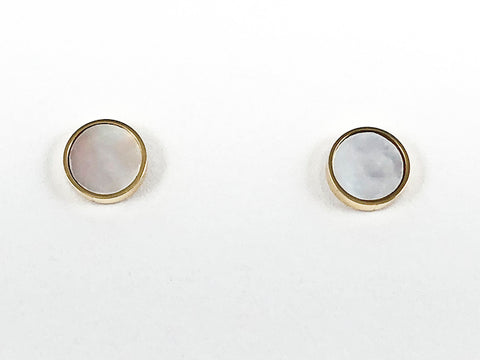 Beautiful Elegant Round Center Mother Of Pearl With Gold Tone Frame Steel Earrings