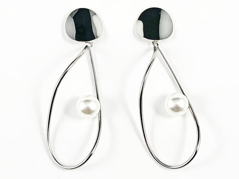 Modern Geometric Style With Pearl Dangle Steel Earrings