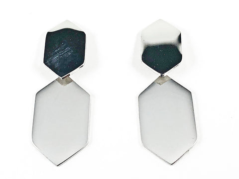Modern Shiny Metallic Hexagon Shape Dangle Steel Earrings