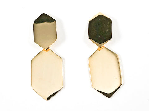 Modern Shiny Metallic Hexagon Shape Dangle Gold Tone Steel Earrings