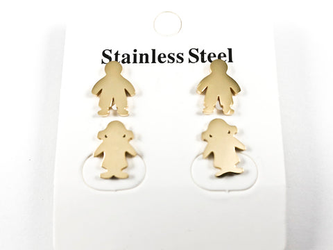 Modern Boy & Girl Pair Shiny Metallic Gold Tone Steel Earrings