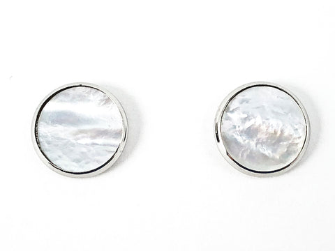 Elegant Round Shape Disc Mother Of Pearl Silver Tone Steel Earrings