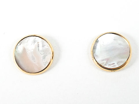 Elegant Round Shape Disc Mother Of Pearl Gold Tone Steel Earrings