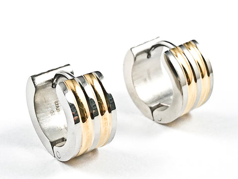 Modern Dainty 2 Tone Shiny Metallic Huggie Style Steel Earrings