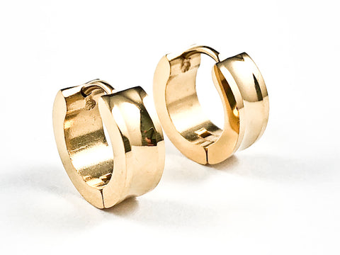 Modern Dainty Shiny Metallic Geometric Finish Gold Tone Steel Huggie Earrings