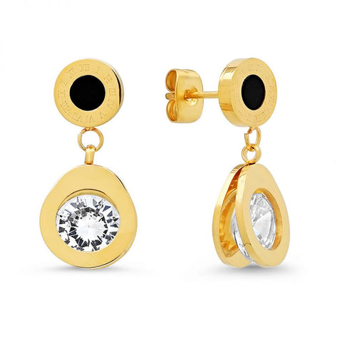 Beautiful Round Disc Black Enamel With Roman Numerals CZ Drop Gold Tone Steel Earrings