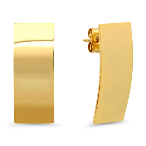 Beautiful Shiny Metallic Curved Rectangle Shape Gold Tone Steel Earrings
