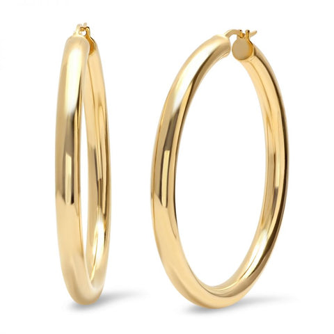 Classic Thick 50 MM Gold Tone Hoop Steel Earrings
