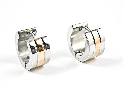 Nice Two Tone Multi Row Micro Dainty Shiny Metallic Huggie Steel Earrings