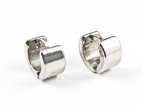 Nice Solid Shiny Metallic Micro Dainty Silver Tone Huggie Style Steel Earrings