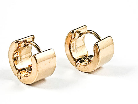 Nice Solid Shiny Metallic Micro Dainty Gold Tone Huggie Style Steel Earrings