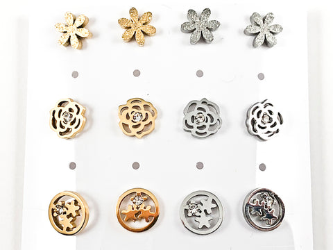 Nice Mix Design 6 Pair Pack Steel Stud Earrings
