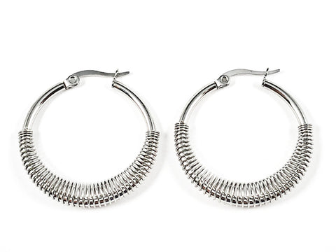 Nice Textured Lower Rings Design Silver Tone Steel Hoop Earrings