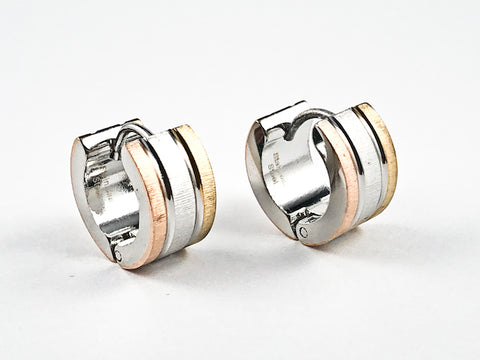 Nice Tri Tone Color Design Dainty Huggie Steel Earrings