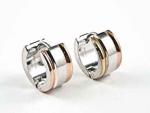 Nice Micro Tri Color Shiny Metallic Huggie Style Steel Earrings