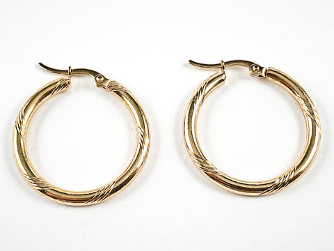 Nice Textured Shiny Metallic Gold Tone Hoop Steel Earrings
