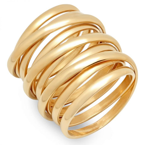 Unique Long Multi Wrap Coil Style Shiny Metallic Gold Tone Steel Ring