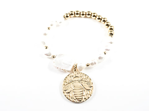 Unique Fun Large Round Insect Charm Pearl & Gold Beads Steel Stretch Bracelet