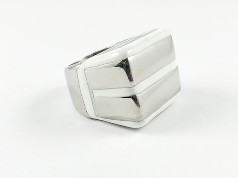 Modern Unique Double Bar Enamel Steel Ring