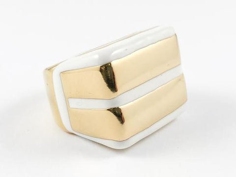 Modern Unique Double Bar Enamel Gold Steel Ring