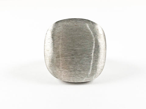 Elegant Casual Flat Square Matte Thick Steel Ring