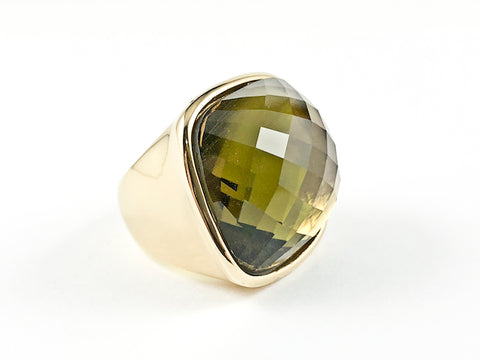 Modern Large Square Olive Green Topaz Gold Plated Steel Ring