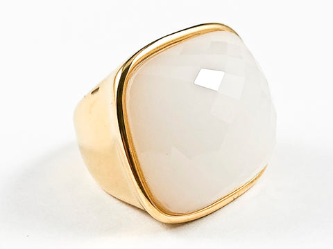 Nice Large Square Shape Center White Agate CZ Gold Tone Steel Ring