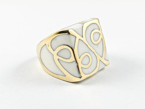 Modern Square White Enamel Vine Design Gold Plated Steel Ring