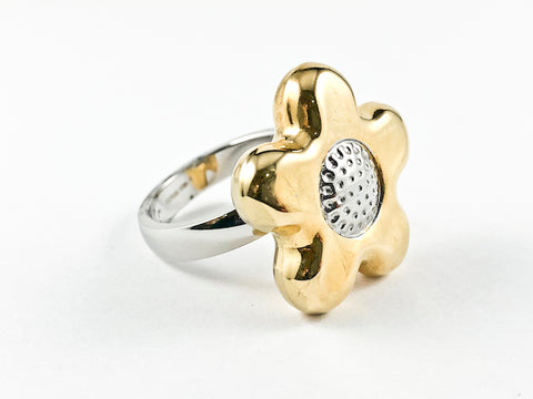 Modern Casual Sunflower 2 Tone Steel Ring