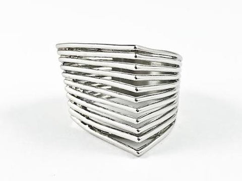 Modern Unique Geometric Shape Architectural Style Line Steel Ring