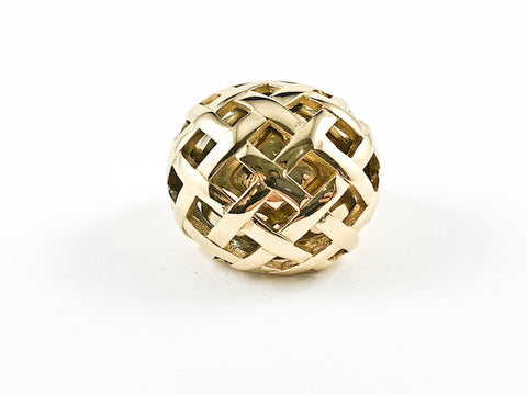 Modern Round Dome Unique Pattern Gold Tone Steel Ring