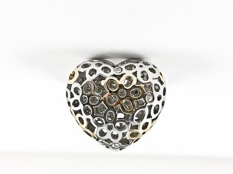 Modern Heart Shape With Circular Frame Surface 2 Tone Steel Ring