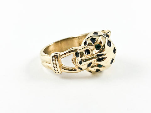 Modern Unique Leopard Face Design Steel Ring